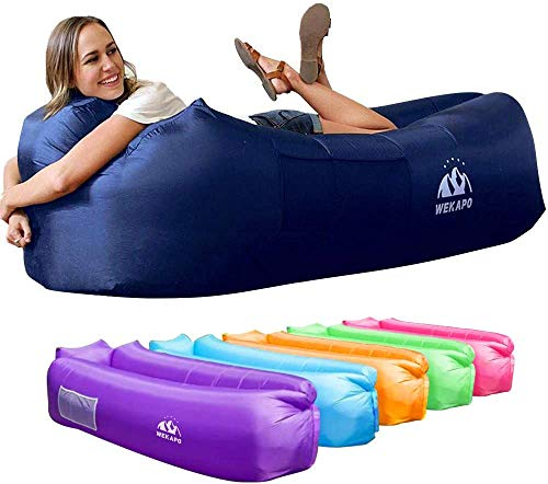 Wekapo Inflatable Lounger Air Sofa Hammock-Portable,Water Proof& Anti-Air Leaking Design-Ideal Couch for Backyard Lakeside Beach Traveling Camping Picnics & Music Festivals (Navy)