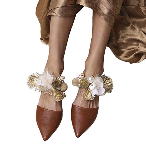 Shell sandalen puntige omzoomde slippers handgemaakte parel strass platte damesschoenen zomersandalen plus maat 34-43