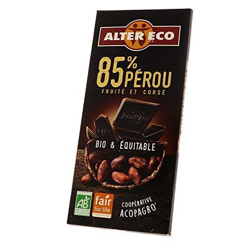 Alter Eco Chocolat Noir 85% Bio & Équitable – Fruité & Corsé – 100 g