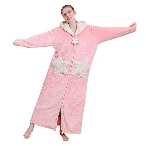 Albornoz cálido en Invierno con Capucha para Mujer Moda Casual Largo camisón Espesado Terciopelo de Coral Bata de baño Mujeres Espesar Coral Fleece Robe 205