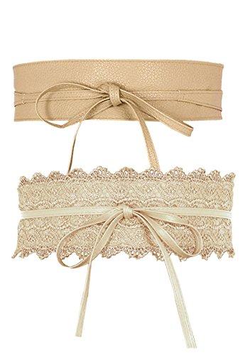 CHIC DIARY 2 Stück Taillengürtel Damen Bindegürtel Wickelgürtel Hüftgürtel Breit Gürtel für Kleider aus PU Leder/Spitze(Beige)