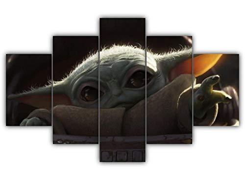 GSDFSD 5 Cuadros en Lienzo Star Wars Película Future Jedi Impresión HD,Diseño de la Naturaleza,con Marco Creativo 200x100 cm