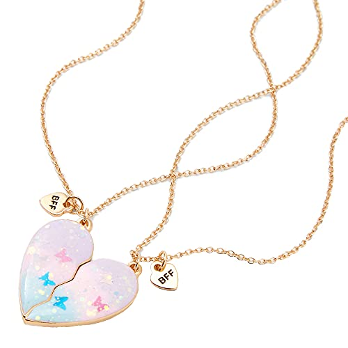 Claire's Matching Glitter Butterfly Split Heart Pendant Best Friends...