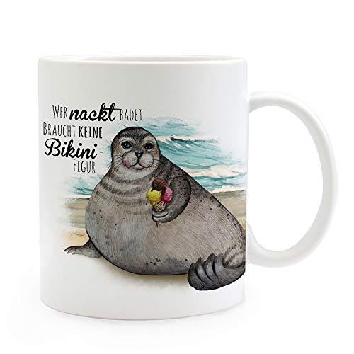 ilka parey wandtattoo-welt Tasse Becher Kaffeetasse Robbe mit EIS Spruch Wer nackt badet braucht Keine Bikinifigur Kaffeebecher Geschenk Spruchbecher ts977