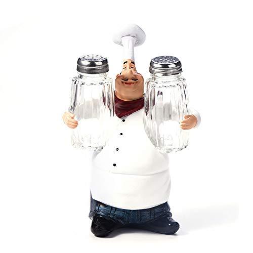 Netter Chef Cruet Set - Statue Ornamente Vintage Home Decoration Küche Restaurant Resin Crafts Stehen für Salz, Zucker und Pfeffer