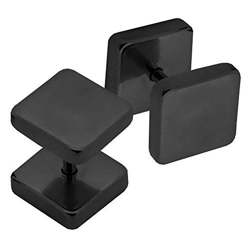 tumundo 2 Stk Fake-Plugs Ohr-Stecker Ohrringe Damen-Schmuck Herren Piercing Fake-Tunnel 3-8mm Vier-Eckig Edelstahl, Farbe:schwarz - 4mm