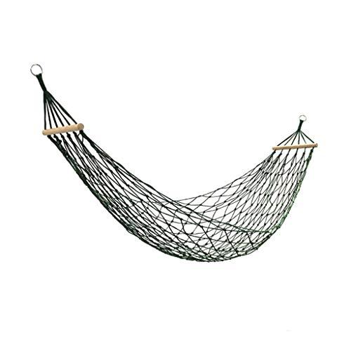 Zunruishop schommels enkele en dubbele nylon touw mesh hangmat met korte houten stokken, 2-Person geweven dubbele hangmat/schommel voor achtertuin opknoping touw hangmat