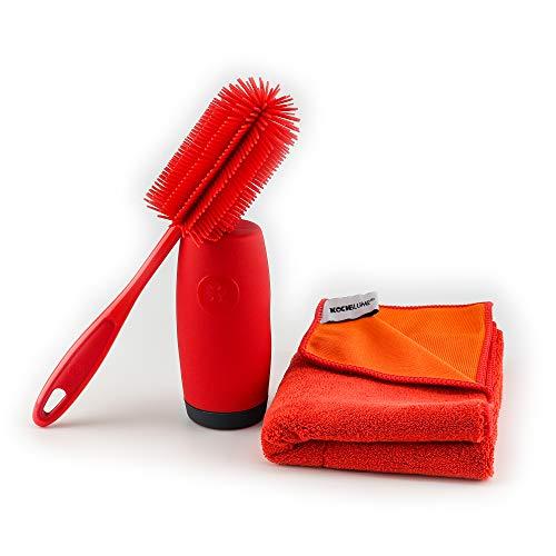 Kochblume Reinigungs-Set 3tlg.| Spülbürste, Spülmittelspender & Geschirrtuch (rot)
