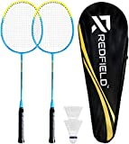 Redfield™ Set de Badminton - 2 Raquettes de Badminton - 2 Volants - Sac de Transport - Ensemble Complet pour 2 Joueurs Adultes - Jeu en extérieur ou en Salle