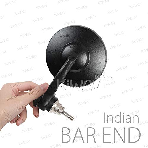KiWAV Magazi Bob Black Motorcycle Handlebar Bar End Mirrors compatible for Indian Scout Bobber