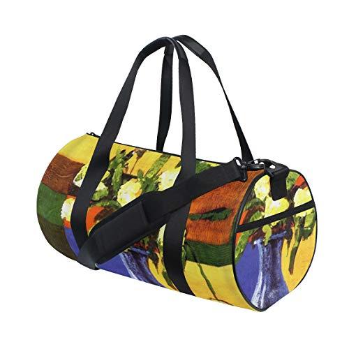 ZOMOY Sporttasche,Ölgemälde Kunst Aquarell Zierpflanze Blume Blau Vase Gelb,Neue Bedruckte Eimer Sporttasche Fitness Taschen Reisetasche Gepäck Leinwand Handtasche