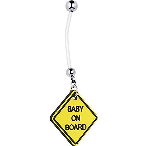 Baby on Board Yellow Sign Pregnancy Belly Ring Flexible Belly 14g By Eg Gifts