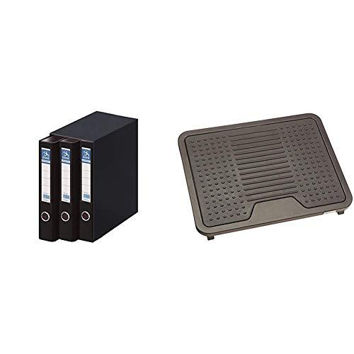 Dohe Archicolor - Módulo 3 archivadores A4, color negro + AmazonBasics - Reposapiés