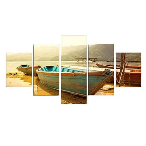 SailorMJY Modernes Leinwandbild, Grafik, Wanddekoration, kleines Boot aus Holz, Strand, 5 Paneele, Wandkunst, Wanddekoration ohne Rahmen Medium