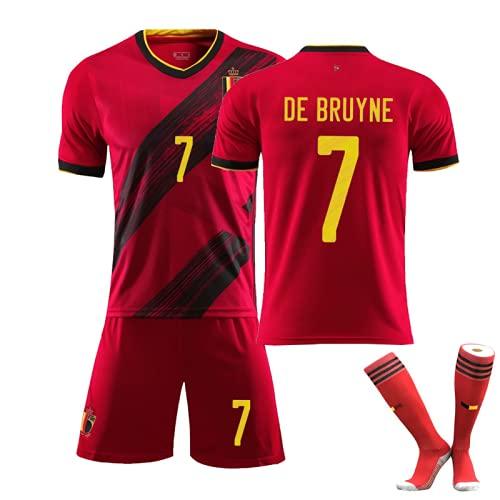 Camiseta de fútbol Copa de Europa 2021 Bélgica Estadio local No. 7 Kevin De Bruyne Camiseta roja Camiseta de entrenamiento de fútbol para niños Conjunto con calcetines Camiseta de fútbol para adultos