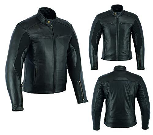 Sterling Sports® Heren Motorfiets Jassen - Motorbike Lederen Klassieke vintage stijl leren jas met CE goedgekeurd pantser Zwart Motorcross Echt Leer 6 maanden Garantie Large (40-42