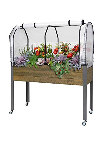 "CedarCraft Elevated Spruce Planter (21"" x 47"" x 32'H) + Greenhouse Cover & casters - Complete Raised Garden kit to Grow Tomatoes, Veggies & Herbs. Greenhouse extends Growing Season, Protects Plants"