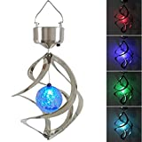 Clordeal Solar Powered Energy Saving Lamp LED Wind Chime Moving Rotating Colorful Color Changing Outdoor Stainless Spinner Hanging Spiral Garden Lawn Balcony Porch Window Decorative Light Lamp