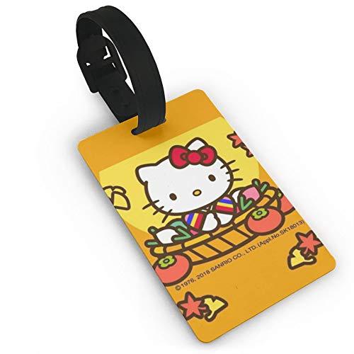 DNBCJJ Etiquetas de equipaje para maletas Hello Kitty se ejecuta en la cesta de agua etiqueta de equipaje, con nombre ID maleta para mujeres, hombres, niños, accesorios de viaje