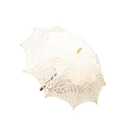 BESTOYARD Bordado de Encaje Sombrilla de algodón Parasol Hecho a Mano para Nupcial Ducha Traje de señora Accesorios de Fotos Baile de Boda (Beige)