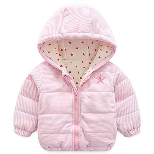 Baby capuchon unisex winterjas lange mouwen warm kinderen strepen schattige outwear 18-24 Maanden roze