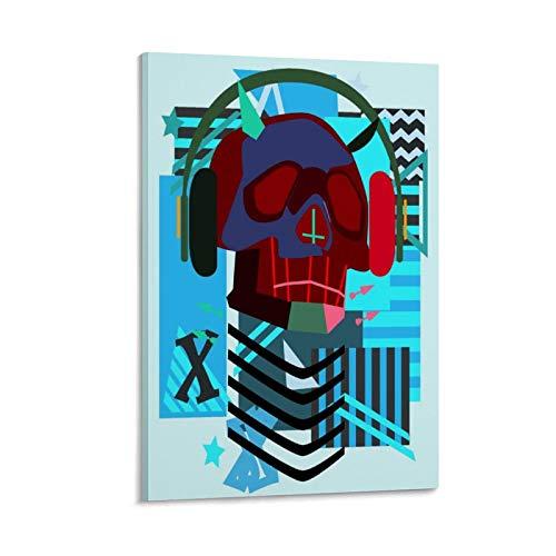 Póster artístico con diseño de calavera de robot musical con Hea y arte de pared, impresión moderna para decoración de dormitorio familiar, 30 x 45 cm
