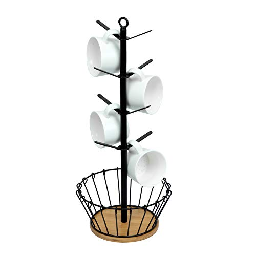 simesove Drying Storage Rack Holder Home Storage Mug Hooks Multipurpose Display Stand Metal Tree Shape Mug Coffee Cups Stand with 8 HooksBamboo Base with Coffee Basket