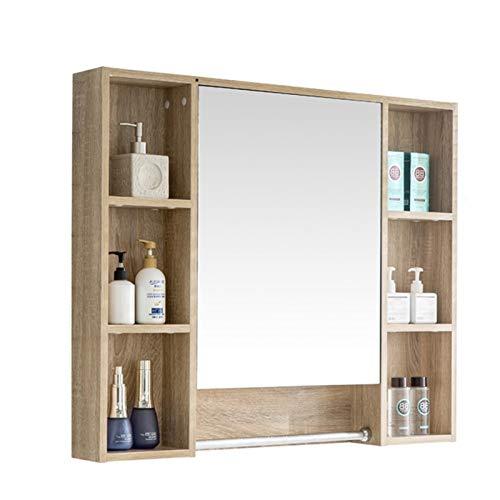 Armarios con espejo Armarios de medicinas Pared Estante De Baño Caja De Espejo De Pared Espejo Retro para Dormitorio Hermoso Y Práctico (Color : Wood Color, Size : 100 * 12 * 75cm)