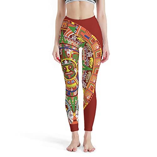 OwlOwlfan Leggings de yoga de secado rápido sin costuras para mujer, de azteca maya, pantalones de gimnasio, para gimnasio, deporte