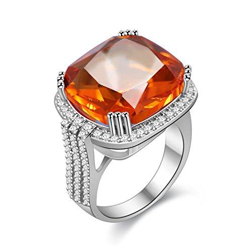 Uloveido Anillos Punk de declaración de bodas de aniversario con tamaño de anillo cuadrado de promesa de piedras preciosas creadas en naranja para su RA219
