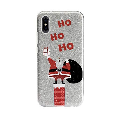 """Cover natalizia glitterata realizzata in TPU con fantasia """"Babbo Natale"""" per iPhone XS/X"""
