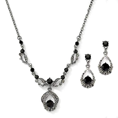 Mariell Jet Hematite Black Vintage Crystal Necklace & Earrings Jewelry Set for Prom, Bridal, Bridesmaids