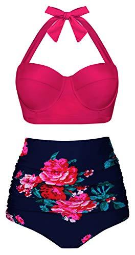 Angerella Womens Flroal Swimsuit High Waist Bikini Two Piece Bathing Suits Retro Vintage Swimwear Pink,Large