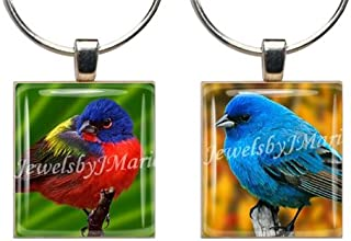 BUNTING BIRDS ~ Scrabble Tile Wine Glass Charms ~ Set of 2 ~ Stemware Charms/Markers/Pendants