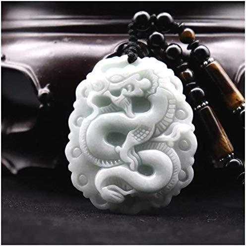 XCHJY Natural Jadeite Jade Tallado Dragón Colgante Colgante para Hombres Mujeres Amuleto Joyería Beads Cadena Accesorios de Dropship (Color : Natural)