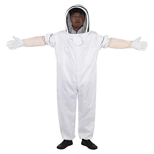 Kombinezon pszczelarski, L/XL/XXL Kombinezon pszczelarski Profesjonalny sprzęt ochronny z rękawicami z owczej skóry dla pszczelarza, miękki i oddychający (XL)