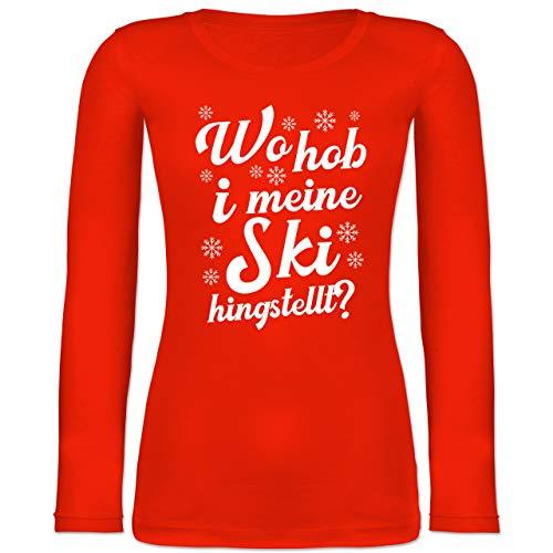 Shirtracer Après Ski - Wo hob i Meine Ski hingstellt? - weiß - XS - Feuerrot - Spruch - BCTW071 - Langarmshirt Damen