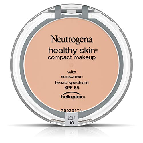 Neutrogena Healthy Skin Compact Lightweight Cream Foundation Makeup with Vitamin E Antioxidants, Non-Greasy Foundation with Broad Spectrum SPF 55, Classic Ivory 10,.35 oz