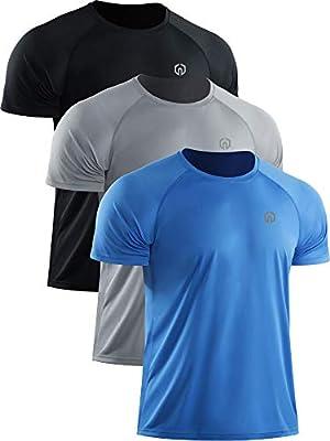 Neleus Men's Short Sleeve Running Shirts UPF 50+ Sun Protection SPF T-Shirts Fishing Hiking,Black/Grey/Blue,3 Pack,US L,EU XL