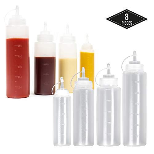 8 Biberon Salsas con Tapas de Rosca, Tamaños (2*240ml 2*360ml 2*500ml 2*680ml) - Dispensador de Botellas de Plástico para Condimentos Ketchup Vinagre Salsa Aceite - Prueba de Fugas y Libre de BPA.