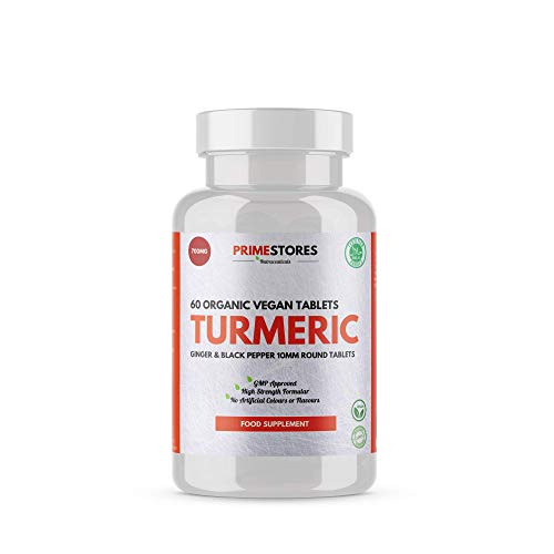 Turmeric Curcumin Black Pepper Bioperine Tablets 700mg - 60 Organic Vegan Capsules - High Strength Joint Pain Supplement Pills by Primestores