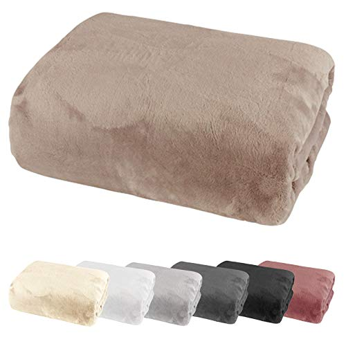 heimtexland ® Spannbetttuch Cashmere Touch Teddy Plüsch Spannbettlaken Super Soft ÖKOTEX Nicky 100x200 Taupe Typ585