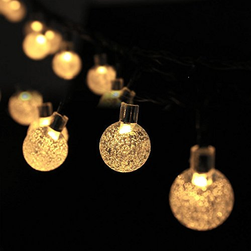 Solar String Lights, (20Ft,30 LED) Solar Crystal Ball String Lights,Outdoor Globe Fairy String Lights Xmas Light Starry Lights, for Garden, Home, Wedding, Patio, Summer/Holiday Party (Warm White)