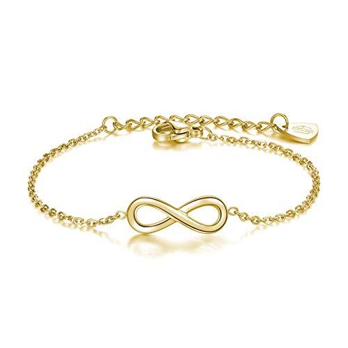 URBANHELDEN - Armband Endless - Hochwertiger Armschmuck - Edelstahl Armkette mit Unendlichkeitszeichen - Damenarmband Schmuck - Infinity - Gold