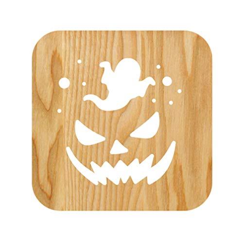 PRETYZOOM Holz Halloween Führte Nachtlicht mit Kürbis Geist Muster Halloween Tischdekoration (Warmweiß)