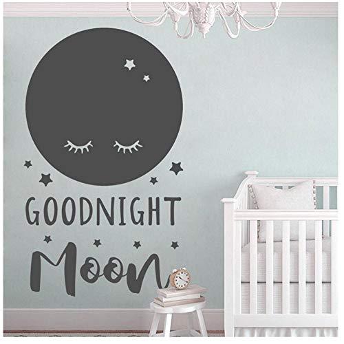 MINGKK Stickers muraux Sticker lune mignon pour chambre de bébé cite bonne nuit lune pépinière décor, Wall Art vinyle autocollant, Shower de bébé, cadeau 57 x 96 cm