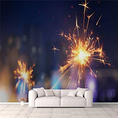 Modern 3D Happy New Year Glittering Burning Sparkler Against Blurred City Light Wallpaper Stick and Peel Wall Stickers Removable Wall Paper Mural for Living Room Bedroom TV Background Wall