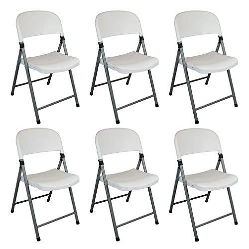 QIDI Chaise de Bureau Pliante en Plastique pour Camping, pour Usage intérieur et extérieur - Paquet de 6 (Color : White)