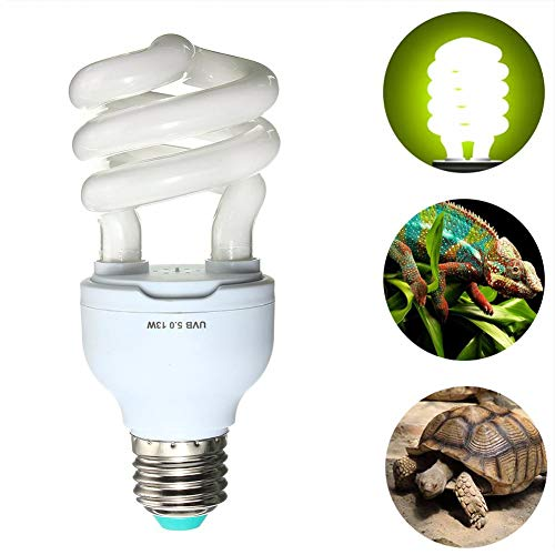 Soldmore7 UVB Lampe Schildkröte für Reptilien 5,0 10,0 UVB 13 W Kompakte Lampe Schildkröte Terrarienlampe 110–240 V für Amphibien Schildkröte Eidechse Sukkulenten Pflanzen, Wie abgebildet, 5.0