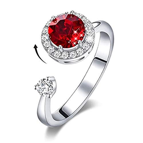 DYD Roterende geboortestenen ringen voor meisjes vrouwen verjaardag Valentijnsgeschenk met kristallen ring 18 karaat witgoud verguld instelbare maat 5-9 voor vriendin vrouw
